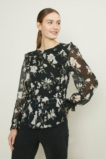 Black Soft Printed Blouse