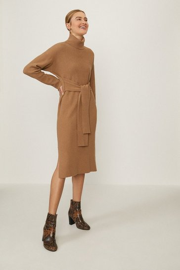 Caramel Roll Neck Knitted Dress
