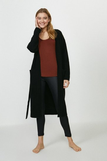 Black Longline Knitted Cardigan