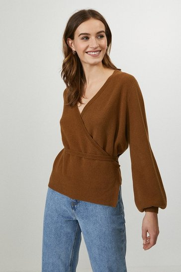 Camel Tie Detail Knitted Top