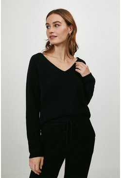 Black Slash Neck Knitted Top