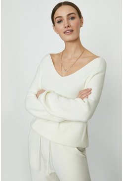Ivory Slash Neck Knitted Top