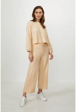 Apricot Wide Leg Knitted Trouser