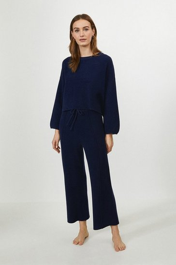 Navy Wide Leg Knitted Trouser