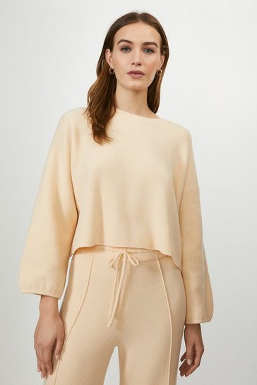 Apricot Knitted Sweatshirt