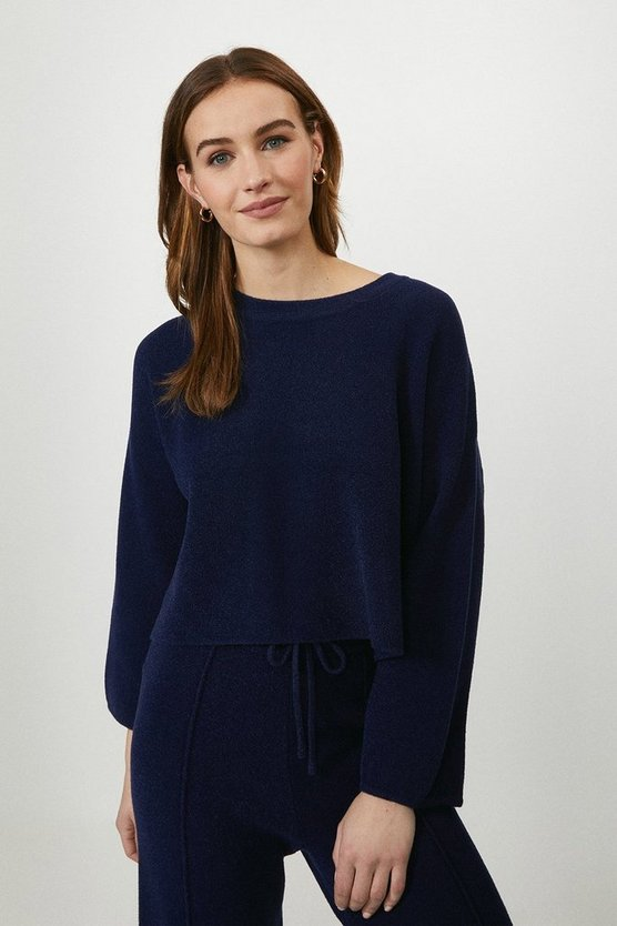 Navy Knitted Sweatshirt