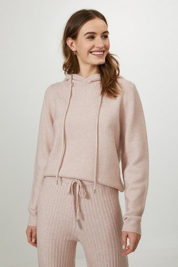 Blush Knitted Hooded Jumper