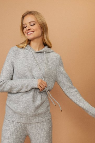 Grey Knitted Hooded Jumper
