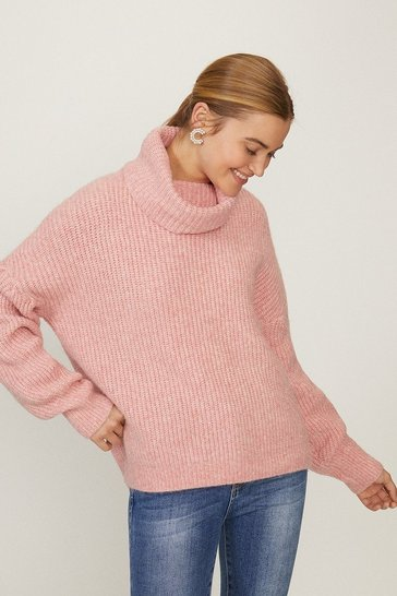 Blush Oversized Roll Neck Knit