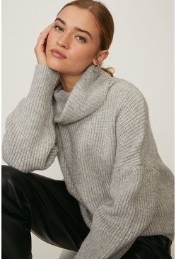 Grey marl Oversized Roll Neck Knit