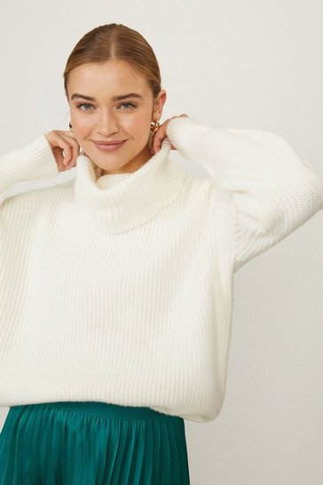 Ivory Oversized Roll Neck Knit
