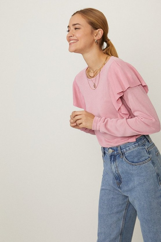 Blush Frill Detail Knit Top