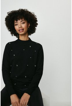 Black Cluster Embellishment Detail Knit Top