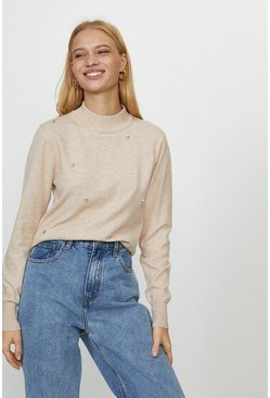 Blush Cluster Embellishment Detail Knit Top