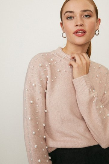 Blush Pearl Detail Knitted Top
