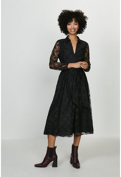 Black Sheer Lace Long Sleeve Midi Dress