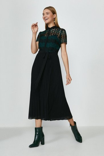 Forest Lace Pleat Midi Dress
