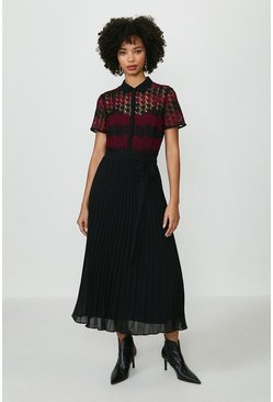 Merlot Lace Pleat Midi Dress