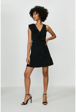 Black Ruffle Jersey Dress