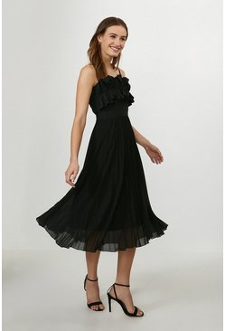 Black Ruffle Bodice Pleated Dress