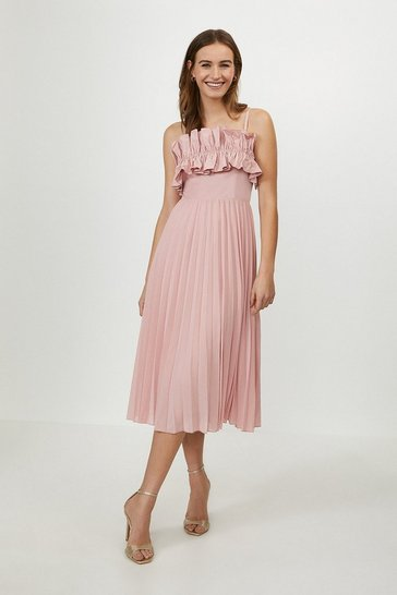 Blush Ruffle Bodice Pleated Dress