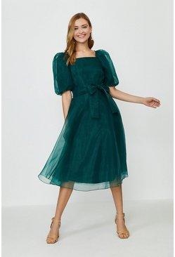 Green Organza Tie Waist Dress