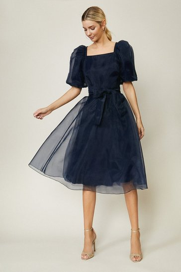 Navy Organza Tie Waist Dress
