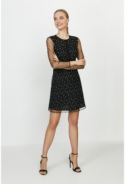 Black Embroidered Spot Mini Dress