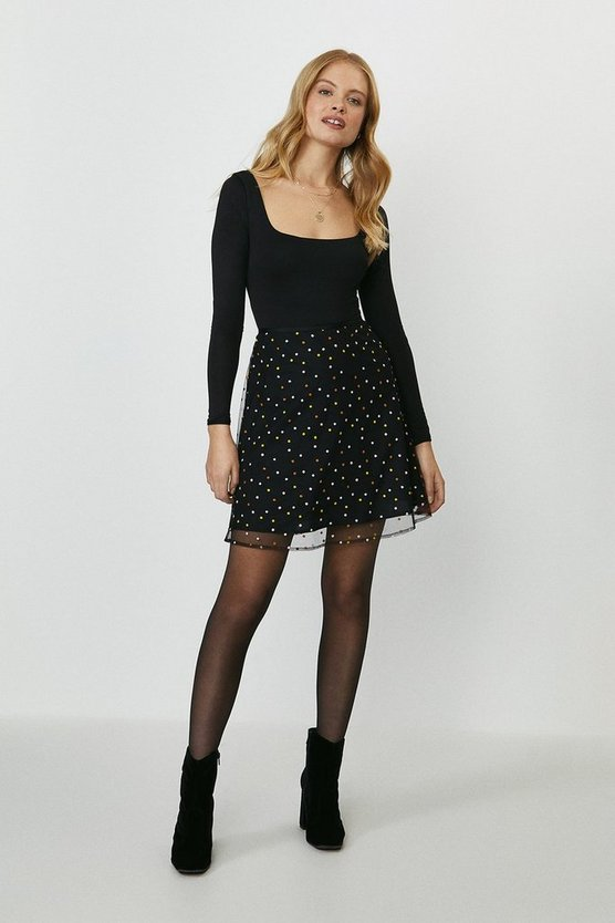 Black Embroidered Spot A-Line Skirt