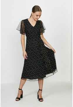 Black Embroidered Spot A-Line Dress