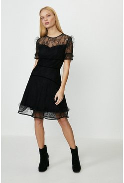 Black Lace Ruffle Skater Dress