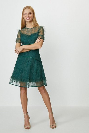Forest Lace Ruffle Skater Dress