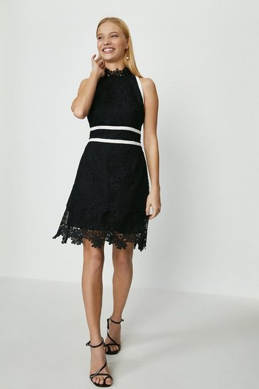 Black Mono Lace Mini Dress