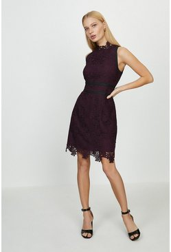 Merlot Mono Lace Mini Dress