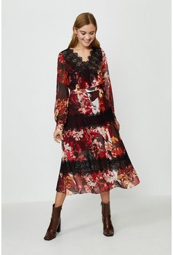 Floral Printed Lace Trim Long Sleeve Dress