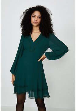 Forest Plain Long Sleeve Mini Dress