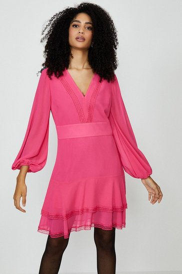 Pink Plain Long Sleeve Mini Dress