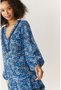 Blue Printed Long Sleeve Mini Dress