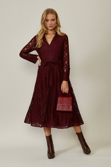 Merlot Lace Long Sleeve Midi Dress