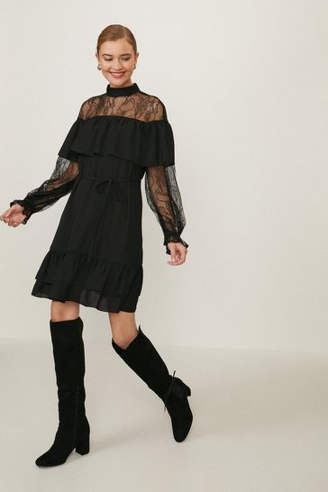 Black Lace High Neck Long Sleeve Dress