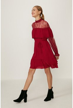 Merlot Lace High Neck Long Sleeve Dress
