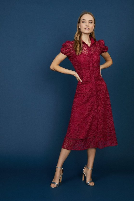 Berry Lace Midi Shirt Dress