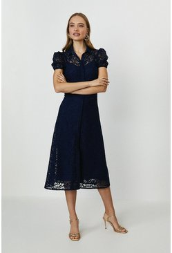 Navy Lace Midi Shirt Dress