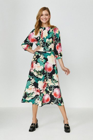 Black Printed Floral Long Sleeve Dress