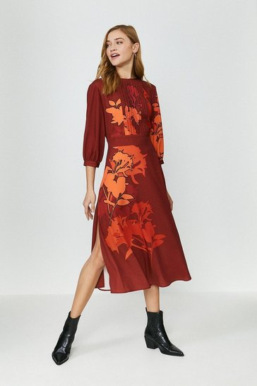 Orange Printed Floral Long Sleeve Dress