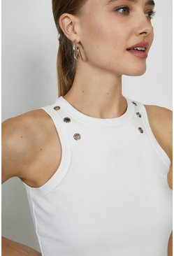 Ivory Eyelet Detail High Neck Vest Top