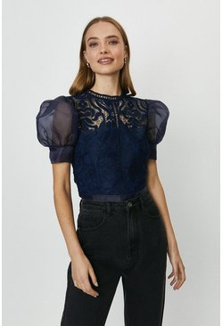 Navy Organza Lace Detail Puff Sleeve Top