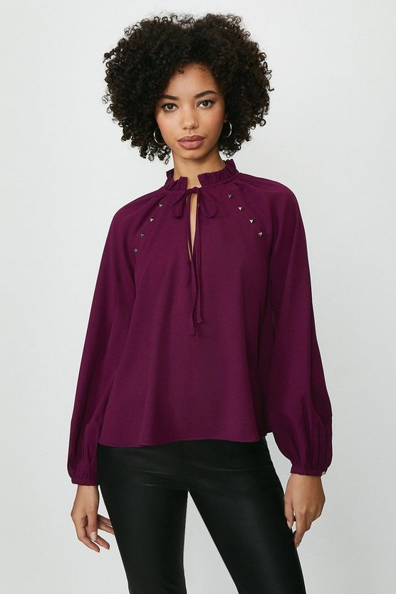 Berry Long Blouson Sleeve Top