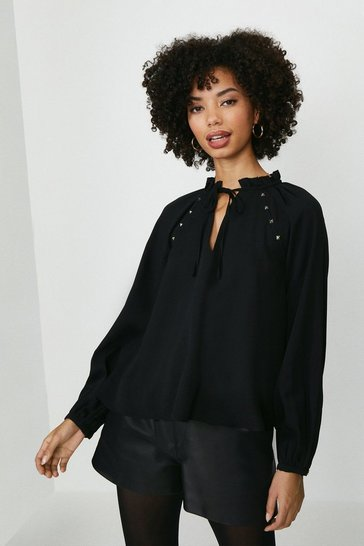 Black Long Blouson Sleeve Top