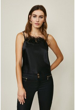 Black Feather Trim Cami Top